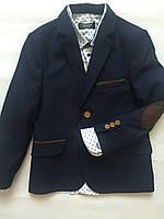 Пиджак синий в  клетку для мальчика, подростковая одежда  116-140