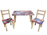 Столик + 2 стула Тачки