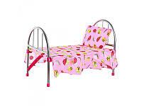 Кроватка 9342   для куклы,железная 45-32-25 см розовая в горох