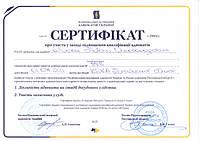 Сертификат о повышении квалификации адвоката Павла Лыски от 27.03.2016