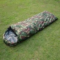Спальный мешок, до -9, одеяло, с капюшоном, комуфляжный, водостойкий, удобный, теплый, военный, туристический