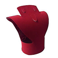 Подставка крсная бархатная Бюст 24см под наборы украшений для серьги и цепочку