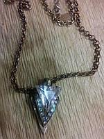 """Кулон""""Треугольник с кристаллом"""" на цепочке"""