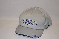 """Мужская бейсболка с автологотипом """"Ford"""" серого цвета (плащевка точка)."""
