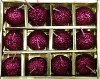 Свечи набор двенадцать шт, розовые шарики, новогодние свечи, 20х20х20