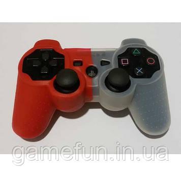 PS3 силиконовый чехол для джойстика (red/white)
