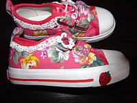 """Текстильные кеди """"Цветочки"""" B&G для девочки 28 размер"""