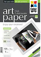 Бумага для термопереноса ColorWay глянцевая перенос на черную ткань (Формат: A4 (210x297 mm), Плотность: 120 г