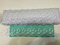 Кружево органза на капроновой сетке, цвет белый, ширина 5,5см  ( 14,5 м в упаковке )