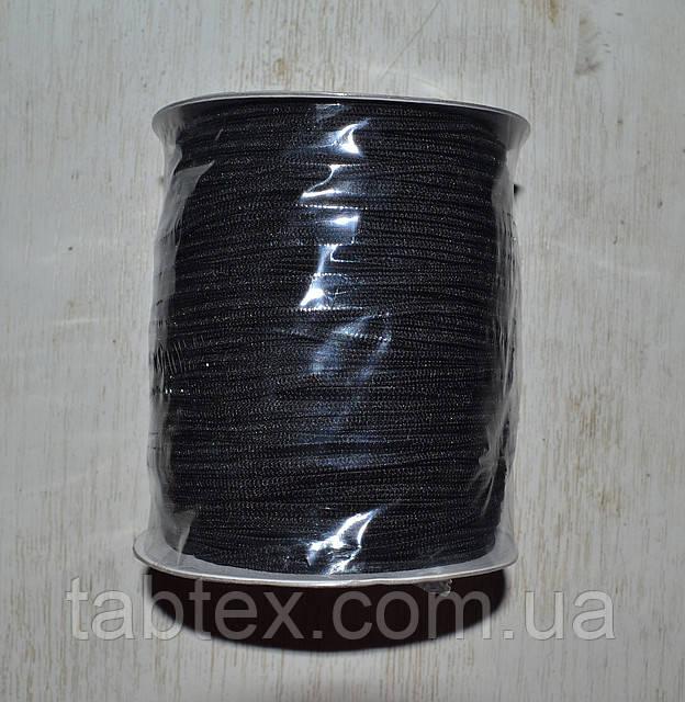Резинка  трикотажная 3мм.черная (200м) китай