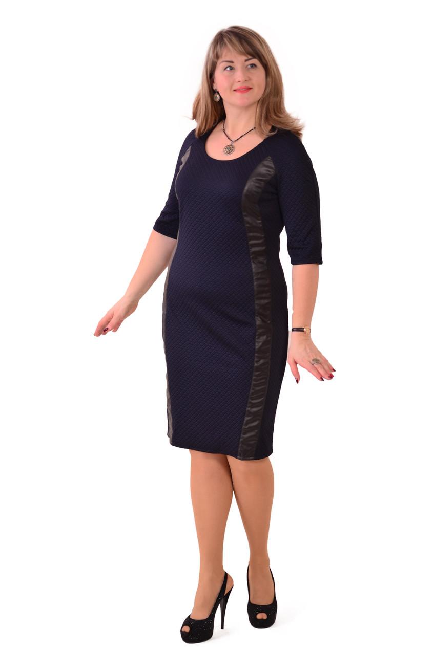 Темно синее платье , трикотажное , Пл 182 ,46 р