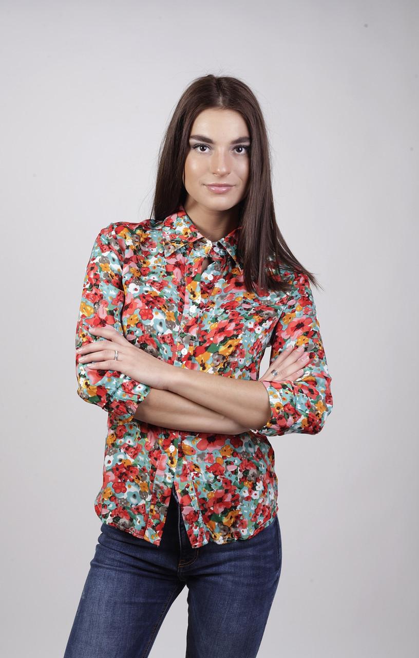 Блуза-рубашка в цветок,