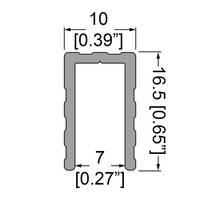 """Профіль 0650. Оконтовочный, """"П"""" подібний, 16,5 мм х 10мм . Для панелей 7 мм."""