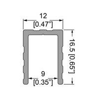 """Профіль 0655. Оконтовочный, """"П"""" подібний, 16,5 мм х 12мм . Для панелей 9 мм."""