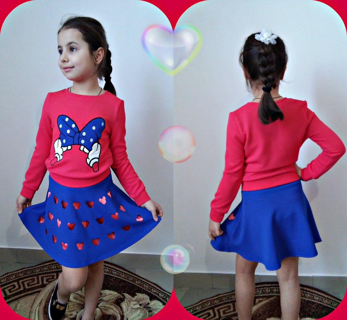 """Яркий детский костюм для девочки """"Микки"""" батник с принтом и юбка (2 цвета)"""