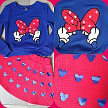 """Яркий детский костюм для девочки """"Микки"""" батник с принтом и юбка (2 цвета), фото 3"""