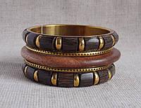 Комплект деревянных браслетов. Этностиль