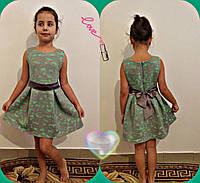 """Нарядное детское платье из неорена """"Елена"""" с цветочным узором (2 цвета)"""