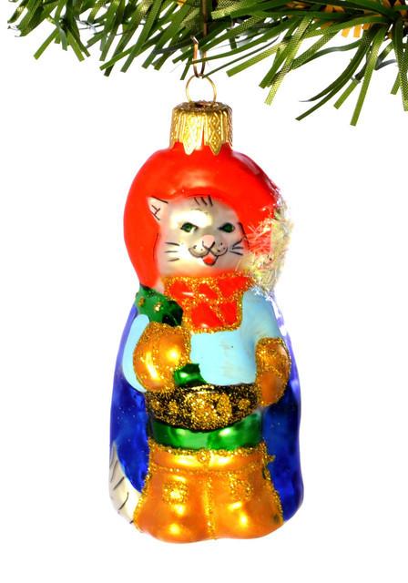 Елочная игрушка  «Кот в сапогах» Стекло