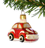 Елочная игрушка  «Машинка красная» Стекло