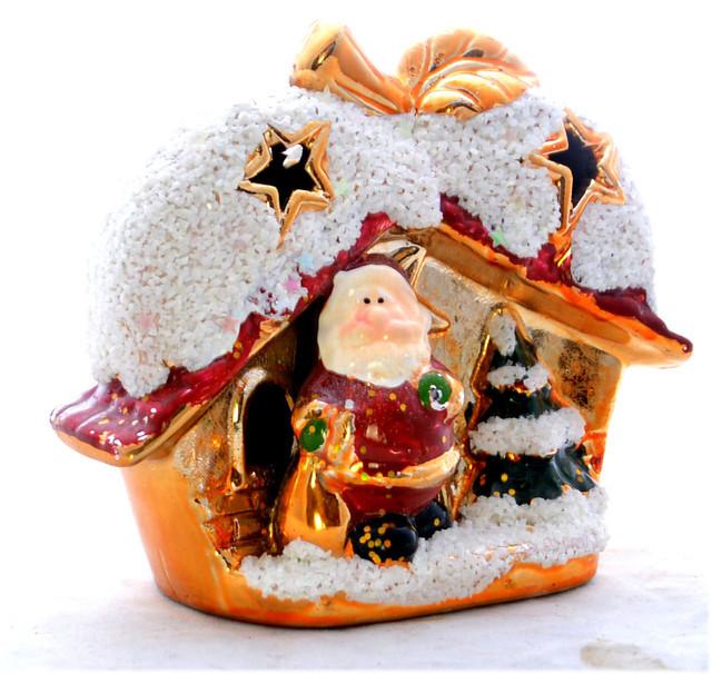 Украшение керамическое Дед Мороз +Домик с LED