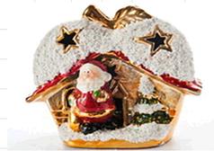 Украшение керамическое Дед Мороз +Сечка с LED