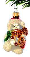 "Елочная игрушка ""Снеговик с веночком "" стекло"