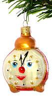 """Елочная игрушка """" Часы Будильник """" стекло"""