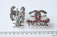 Крабы для волос, материал: металл с камнями чешское стекло, 1 штука