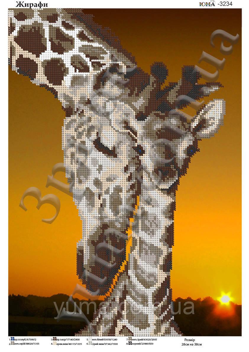 Схема для вышивки бисером Жирафы