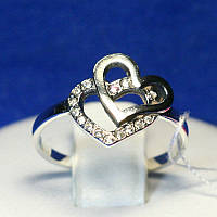 Серебряное кольцо Два Сердечка 1062