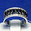 Серебряное кольцо с черным цирконием 11044ч