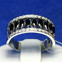 Серебряное кольцо с черным цирконием 11044ч, фото 1