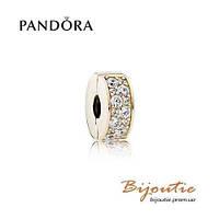 Pandora шарм-клипса СИЯЮЩАЯ ЭЛЕГАНТНОСТЬ  750842CZ золото 585 проба Пандора оригинал