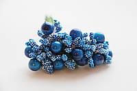 Тычинки сложные бело-синие с ягодками и листиками 6 шт/уп на проволоке