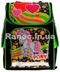 Ранец для девочки с ортопедической спинкой Пони-Бирюза 7787