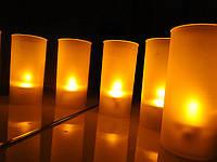 LED, светодиодные свечи в стаканчике (однотонные, желтые)