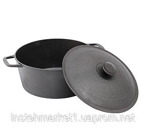 Кастрюля БИОЛ 0803 (3 л) чугунная с литой крышкой-сковородой, фото 2