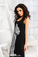 """Женский длинный  сарафан """" Леопард"""" . Цвет черный, белый. Ткань вискоза. Размер 42-54. VM 1062"""