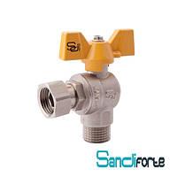 Кран шаровый угловой 3/4 х 3/4 с накидной гайкой PN40 для газа SD FORTE