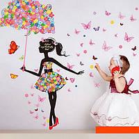 Виниловые наклейки на стены Девочка и бабочки