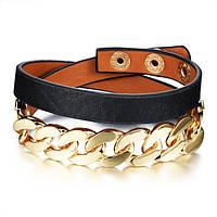 Браслет кожаный двойной с золотистой цепью, цвет черный, фото 1