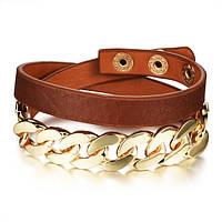 Браслет кожаный двойной с золотистой цепью, цвет коричневый