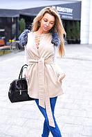 Женская стильная шикарная жилетка с мехом \ бежевая