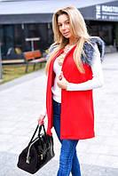 Женская стильная шикарная жилетка с мехом \ красная