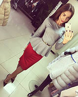 Костюм(48-52) кофта-баска+юбка-карандаш СК