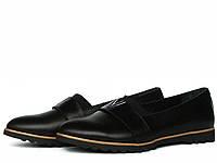 Черные кожаные женские туфли лоферы