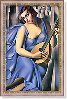 Репродукция картины Т.де Лемпицки «Дама в синем с гитарой» 45 х 70 см 1929 г.