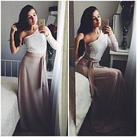 Платье в пол гипюровый верх