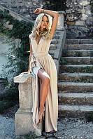 Платье в пол с запахом цвета золото, фото 1